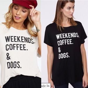 Weekend, Love & Dogs graphic Tee - BLACK